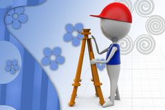 3d man with theodolite measuring illustration Stock Photos