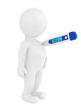 3D Man with thermometer. Health Care Concept. Man with thermometer on white background Royalty Free Stock Photo