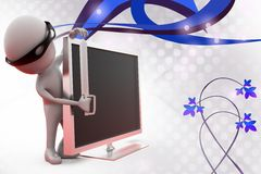 3d man thief behind screen  illustration Stock Images