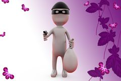 3d man thief with gun illustration Royalty Free Stock Images