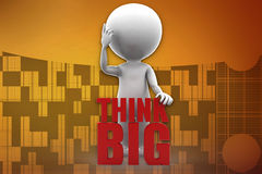3d man think big illustration Stock Images