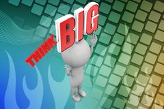 3d man with think big illustration Stock Photography