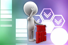3d man think big illustration Stock Photo