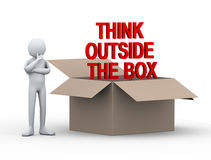3d man think outside the box Stock Images