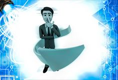 3d man thinking and arrow around hime illustration Royalty Free Stock Image