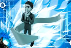 3d man thinking and arrow around hime illustration Stock Images