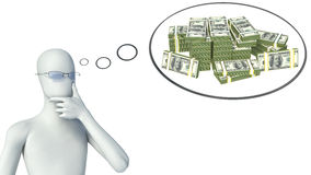 3d man thinking about money Stock Images