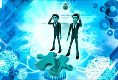 3d man thinking about puzzle illustration Stock Images
