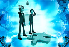 3d man thinking about puzzle illustration Royalty Free Stock Photos