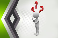3d man thinking with question mark  illustration Royalty Free Stock Photos