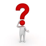3d man thinking with red question mark over his head Royalty Free Stock Photography