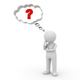 3d man thinking with red question mark in thought bubble. Above his head over white background Stock Photos