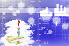 3d man thinking with red question marks Illustration Stock Photo