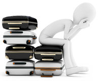 3d man thinking where to travel, sitting on a  pile of suitcases Stock Image