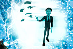 3d man throw papers illustration Stock Photography
