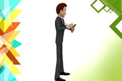 3d man throw stone illustration Stock Images