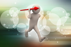 3d man throws a spear Royalty Free Stock Images