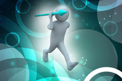 3d man throws a spear Stock Images