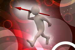 3d man throws a spear Royalty Free Stock Photos
