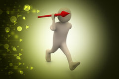 3d man throws a spear. In color background Stock Photo