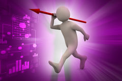3d man throws a spear Stock Photos