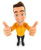 3d man thumbs up. White background Stock Photography