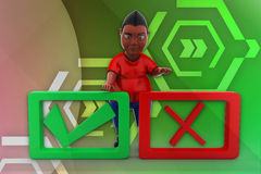 3d man tick and wrong illustration Royalty Free Stock Images