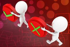 3d man tick or wrong illustration Royalty Free Stock Images