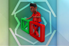3d man tick and wrong illustration Stock Image