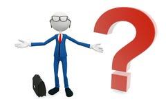 3D man in tie. Cartoon 3D businessman in tie stock illustration