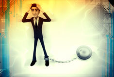3d man tied with chain ball illustration Royalty Free Stock Images