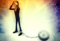 3d man tied with chain ball illustration Royalty Free Stock Photography