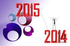3d man 2014 till illustration 2015 Fotografering för Bildbyråer