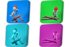 3d Man with timber and hammer concept icon Royalty Free Stock Image
