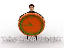 3d man with time management text and clock concept Royalty Free Stock Photography