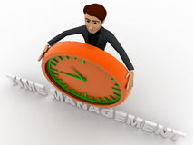 3d man with time management text and clock concept Stock Image