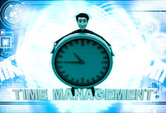3d man with time management text and clock illustration Stock Photos