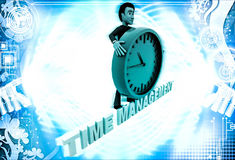 3d man with time management text and clock illustration Royalty Free Stock Images