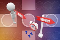3d man time and money illustration Royalty Free Stock Photography