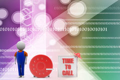 3d man with time to call illustration Royalty Free Stock Photos