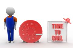 3d man with time to call illustration Stock Photos
