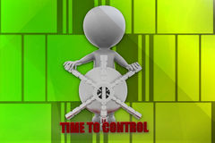 3d man time to control illustration Royalty Free Stock Photos