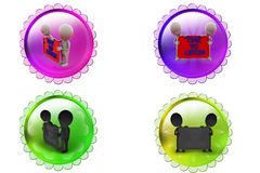 3d man time to listen icon Stock Photos