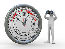 3d man time to search clock. 3d illustration of person with binocular standing with time to search clock. 3d rendering of human people character Royalty Free Stock Images