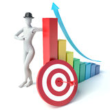3d man and timetable with a target Stock Photography