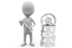 3d man tire rim tool concept Stock Images