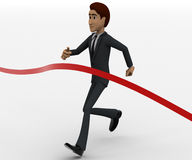 3d man about to finish race in first place concept Royalty Free Stock Images