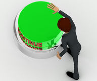 3d man about to press green continue concept Royalty Free Stock Image