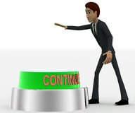 3d man about to press green continue concept Stock Photography