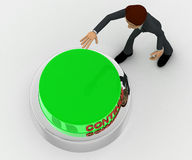 3d man about to press green continue concept Stock Images